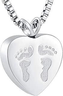 XSMZB Always in My Heart Baby Feet Ashes Keepsake Urn Pendant Necklace Cremation Urns Memorial Jewelry