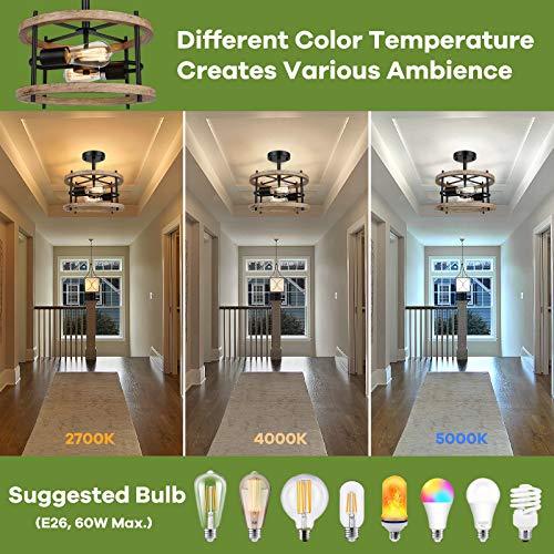 2-Light Retro Semi Flush Mount Ceiling Light Fixture, Rustic Vintage Wood Ceiling Light, Black Metal, Industrial Farmhouse Ceiling Lamp for Hallway, Entryway, Bedroom, Balcony, Farmhouse, Dining Room
