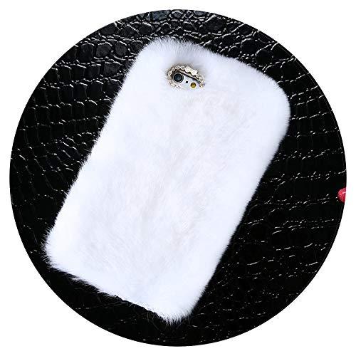 iPhone 6 6s 7 8 Plus Strass Fell Flauschige Hüllen für iPhone X 5s 5 SE Zubehör Capinhas, for iPhone 8 Plus, weiß