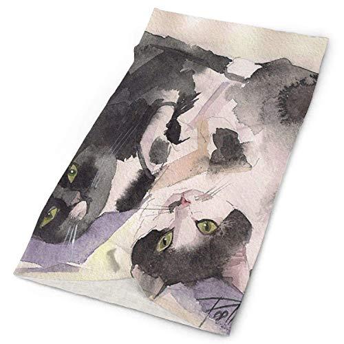 ONLED Diadema dulce pareja gato pintura al aire libre bufanda máscara cuello polaina cabeza envoltura banda para el sudor