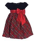 iGirlDress Baby Girls Red Black Velvet Plaid Holiday Fall Christmas Girls Dress 510 Size M
