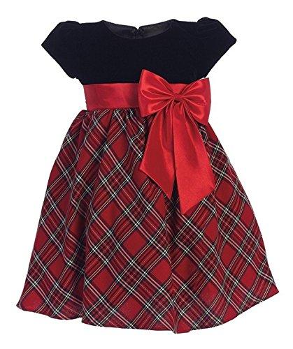 iGirlDress Baby Girls Red Black Velvet Plaid Holiday Fall Christmas Girls Dress 510 Size S