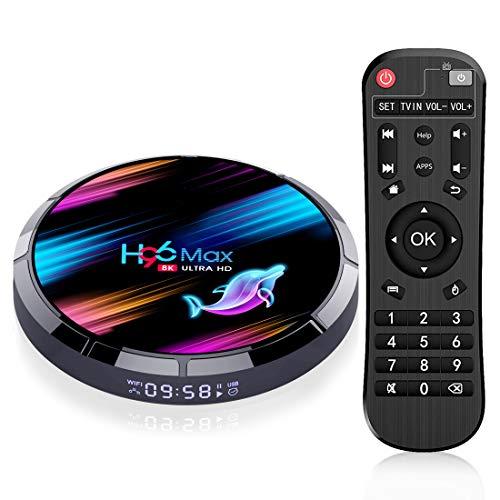 Raxxio H96 Max X3 Android TV Box 9.0 4GB RAM 64GB ROM Amlogic S905X3 64-bit Quad core A55 CPU G31 GPU Support 2.4G/5G Dual Wifi/1000LAN/BT 4.0/USB 3.0/H265/HD2.1/3D 4K/8K Smart TV Box