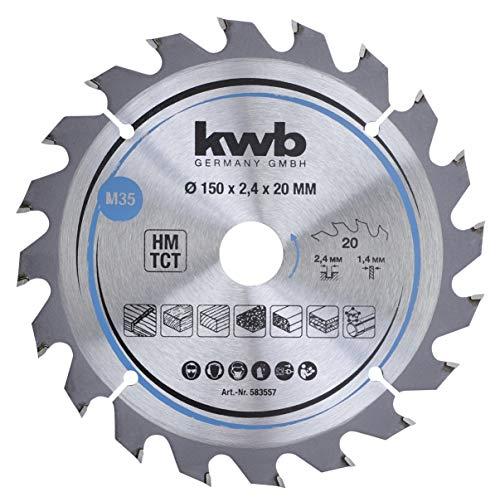 kwb 583557 - Hoja de sierra circular para madera y madera dura, 150 x 20 mm, cortes limpios, número medio, 20 dientes Z-20, hoja de sierra CleanCut media, 150 x 20 mm