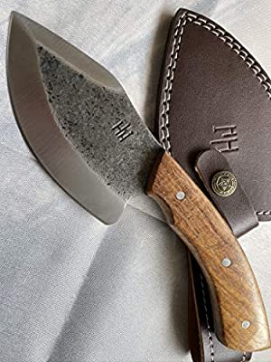 Hobby Hut HH-329 Custom Handmade 9 inch 1095 Carbon Steel Hunting Knife with Sheath, Fixed Blade Knife, Walnut Wood Handle Designed for Hunting Camping and Survival