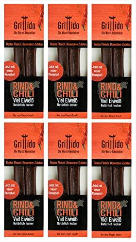 Grillido Sport Landjäger | 40% Protein, unter 10% Fett | Rind und Chili | Ohne Zusatzstoffe | 6x...