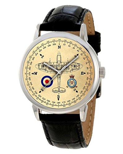 Spitfire WW-II RAF 609Squadron brújula Vector arte pergamino Dial 40mm conmemorativa reloj de pulsera