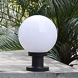 IP44 Sockelleuchte Außen schwarz+Weiß Runde Ball Modern E27 Wasserdichte(Acryl+Kunststoff) Säule Lampe Rasen Terrasse Landschaft Hof Garten StandLaterne Außen-lampe