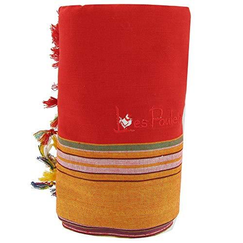 LES POULETTES Kikoy Toalla de Playa de Algodón - Color Rojo Esponja Rojo