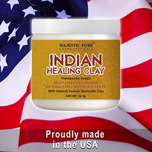 MAJESTIC PURE Indian Healing Clay Powder, Deep Pore Cleansing Facial, Body and Hair Mask, Natural Sodium Bentonite Clay, 16oz
