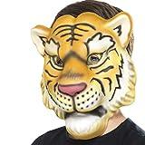 Amakando Tiermaske Tiger Löwenmaske Kindermaske Raubkatze Faschingsmaske Löwe Karnevalsmaske Afrika Tigermaske für Kinder