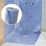 STEIGNER Membrana impermeabilizante para hidroaislamiento, Estera aislante, 1 m ancho 200cm Lámina de sellado color Azul, Esterrilla de impermeabilización, Fibra selladora para Plato de ducha