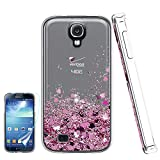 Galaxy S4 Liquid Case,S4 Case, Galaxy S4 Case with HD Screen Protector for Girls Women,Atump Bling Shiny Moving Quicksand Liquid TPU Protective Phone Case for Samsung Galaxy S4 Pink