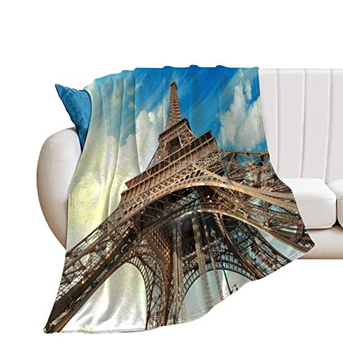 Throw Blanket for Couch Flannel Blankets Eiffel Tower Paris France Landmark Cool Lightweight Ultra Soft for All Season Farmhouse Decorative Blanket for Bed Sofa Travel Birthday Gift 30x40 Inch