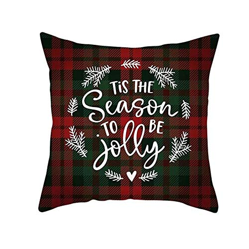 YIBINGLI Merry Christmas Decor Throw Pillow Case Red Tartan Grid Cushion Covers for Home Sofa Chair 50×50cm with pillow core