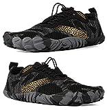 WHITIN Zapatilla Minimalista de Barefoot Trail Running para Hombre Five Fingers Fivefingers Zapato Descalzo Correr Deportivas Fitness Gimnasio Calzado Asfalto Negro 48 EU