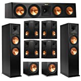 Klipsch 7.2 System with 2 RP-280F Tower Speakers, 1 RP-450C Center Speaker, 4 Klipsch RP-240S Surround Speaker, 2 Klipsch R-115SW Subwoofer + AudioQuest Bundle