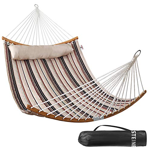 Double Hammock Indoor and Outdoor Hammock w/Foldable Bar & Detachable Pillow, Durable & Easy to Maintain Quilted Fabric, Curved Bar Design Ensures Comfort and Safety - Havana Brown