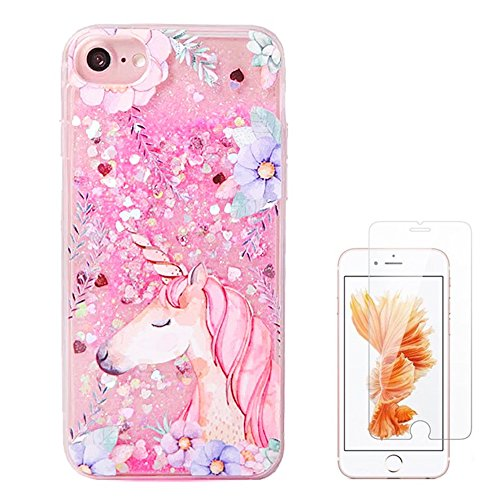 Liquid case for iPhone 6/6 Plus/iPhone 7/7 Plus Print Flowing Liquid Floating Luxury Bling Glitter Sparkle Stars Transparent Plastic Case (Pink Unicorn, iPhone 7 (4.7 inch))