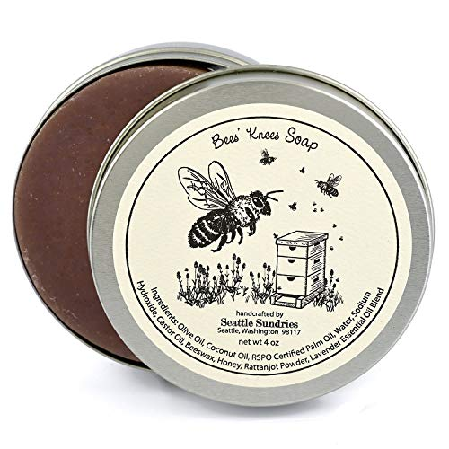 Bees Knees Soap-100% Natural & Hand Made. Scented with Lavender Essential Oil & Honey. One 4 oz Bar in a Convenient Travel Gift Tin. Great for Sweethearts & Besties, Classic Herbal Floral Aroma