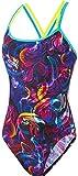 Speedo Allover Double Crossback 1 Piece AF Traje de baño, Mujer, Black/Turquoise/Fluo Yellow/Diva, 28