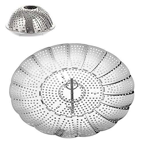 SLKIJDHFB Lebensmittel-Dampfkorb für Töpfe mit faltbarem Design, Gemüse-Dampfkorb, Edelstahl, verstellbar, zusammenklappbar, Dampfgarer, Instant Pot und Schnellkochtopf Zubehör