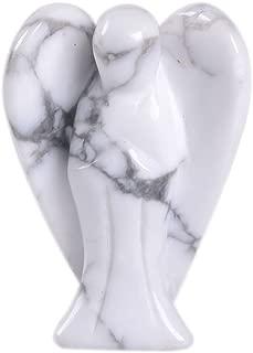 Carved Howlite Gemstone Peace Angel Pocket Guardian AngelHealing Statue 1.5 inch
