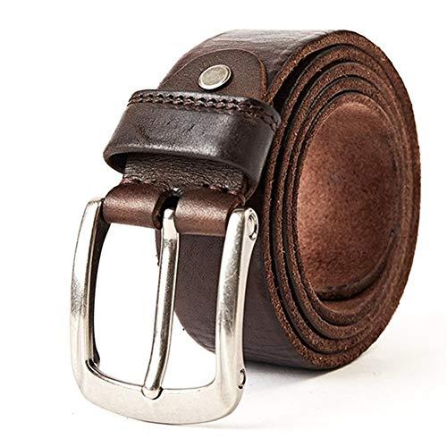 hgkl - Cinturón de piel para hombre, pulsera de piel para vaqueros, baudrier (longitud: 125, color: cama)