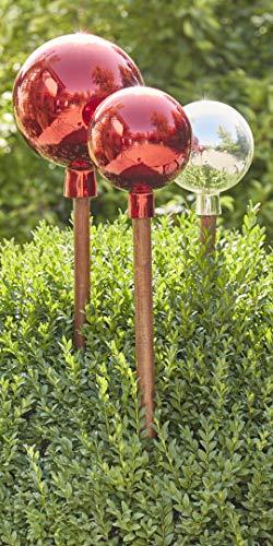 Klocke Dekorationsbedarf Wunderschöner & Hochwertiger Gartenstecker – Glas Rosenkugel - Winterfest & Farbecht - Länge 120cm - Glänzende Kugel/Gartenkugel/Glaskugel am Stab (Klein: Ø 17cm, Silber)