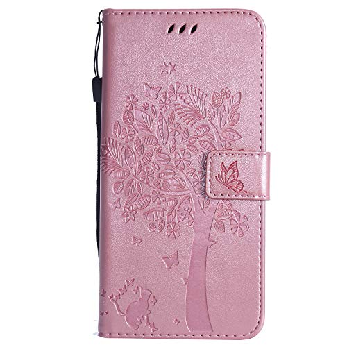 Snow Color Huawei Honor 8X Hülle, Premium Leder Tasche Flip Wallet Case [Standfunktion] [Kartenfächern] PU-Leder Schutzhülle Brieftasche Handyhülle für Huawei Honor 8X - COKT010574 Rosa Gold