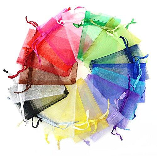 LAAT 100pcs Bolsa de Gasa de Regalo Bolsa de Dulces Regalo de Fiesta de Encaje de Fiesta Bolsas de Organza Mini Bolsa de Colores múltiples