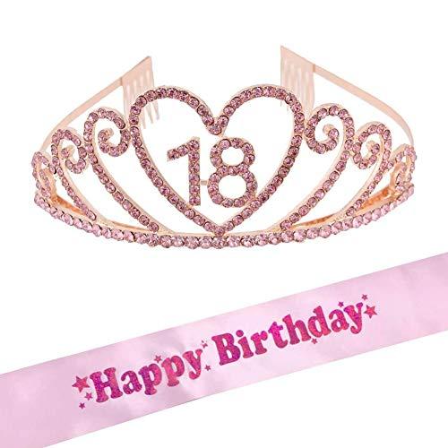 BETOY Geburtstags Krone 18 Geburtstags Kristall Tiara Krone Birthday Crown mit Geburtstags Schärpe Birthday Prinzessin Girl Tiara zum 18. Geburtstagsfeiern
