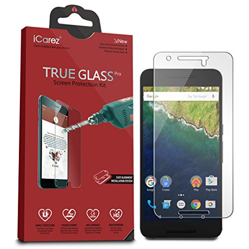iCarez [Tempered Glass Screen Protector for Huawei Google Nexus 6P - Easy Install [1-Pack 9H 0.3MM 2.5D] Retail Packaging