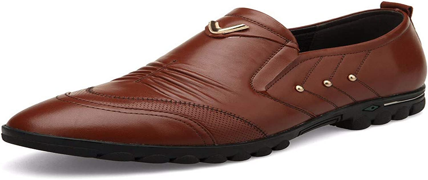 KMJBS Men'S Sneakers Real Leather Men'S Slacker shoes Casual Middle-Aged Men Brown Forty-Two
