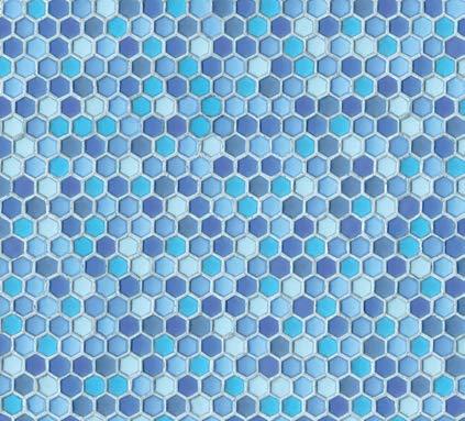 Hornschuch Wandbelag Naturstein Hexagon blau Ceramics Fliesen Tapete PVC Belag Meterware NEU