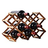 Wine Rack, Wooden Wine Storage Racks Countertop, 10 Bottle Wooden Stackable Wine Cellar Racks, Foldable Tabletop Free Standing Wine Bottle Stand Holder Display Shelf for Home Kitchen Bar Cabinets
