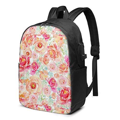 Lawenp Peach Peony Floral Fashion Printed USB Backpack 17 Inch Shoulder Bag Laptop Bag Fashion Rucksack Black