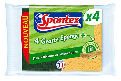 SPONTEX - Gratte-Eponge + Fibres de lin - 8 éponges vaisselle grattantes vertes avec fibres de lin - 2 lots de 4 éponges