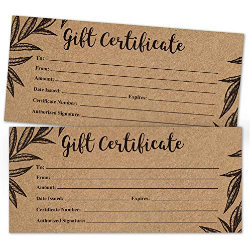 Rustic Blank Gift Certificate Cards