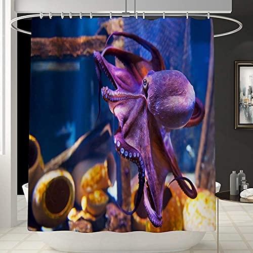 Cortina de Ducha Cortina de ducha cortina de ducha impermeable con patrón de pulpo púrpura no se desvanecerá. Cortina de ducha de ba?era multifuncional y cómoda cortina de ducha tienda de campa?a impe
