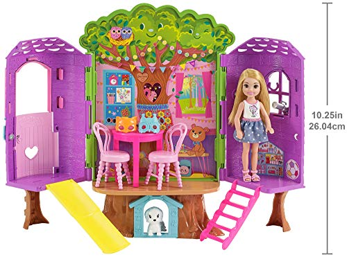 Barbie fpf83 FAMILY Chelsea Treehouse Playset Portable, Child Doll Included, Bright and Colourful, Gift 2 to 5 Years Children Play Set, Various