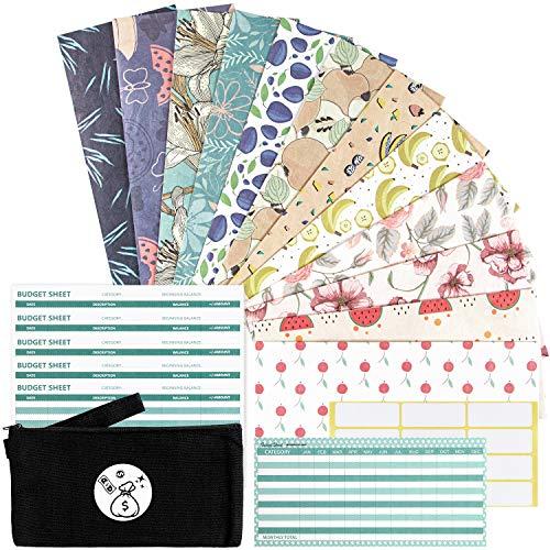Cash Envelopes Waterproof Budget Envelopes - 12 Money Envelopes + 12 Budget Sheets + 1 Annual Budget Sheet + 1 Carry Pouch, Gift Envelopes Expense Tracking Budget Envelopes for Cash Currency