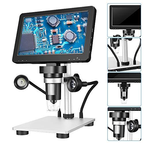 TTLIFE Microscope 7-Zoll digital Microscope 1200x 12MP DM9 HD Digital Magnifie Support 12-sprachiger Digitalmikroskop Arbeitsabstand Max. 10 cm mit externer Fülllicht-Fernbedienungstaste (1200x)