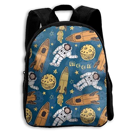 jenny-shop Missile Astronaut Moon School Sacs à Dos pour Enfants 13 'Sac à Dos préscolaire avec Bretelles réglables