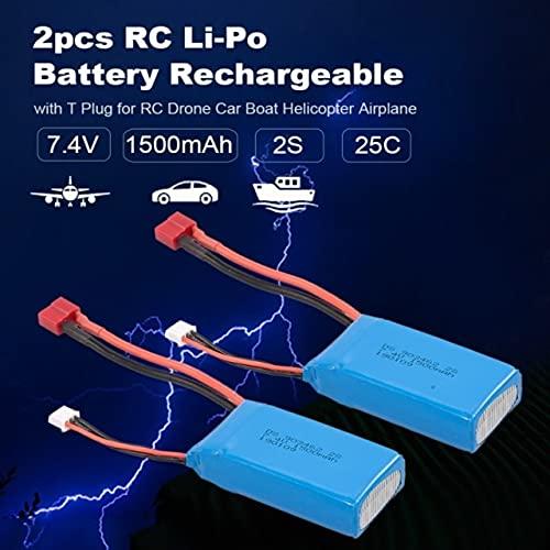 OUYBO 2pcs Li-Po batería 7.4V 2500mAh 40C 2S recargable con T de enchufe for WLtoys 12428 RC Car Drone Barco Avión Helicóptero Accesorios de batería de piezas RC (Color : 7.4V 1500mAh 25C 2S)