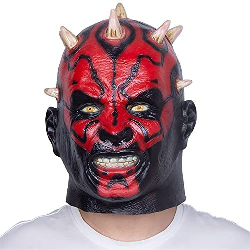 WWWL Mascara de Halloween Mascarilla de Miedo Darth Maul Película Personaje de Látex Cabeza Completa Heatgear Halloween Halloween Cosplay Positivo DE Costura APROBACIÓN (Color : X14017, Size : M)