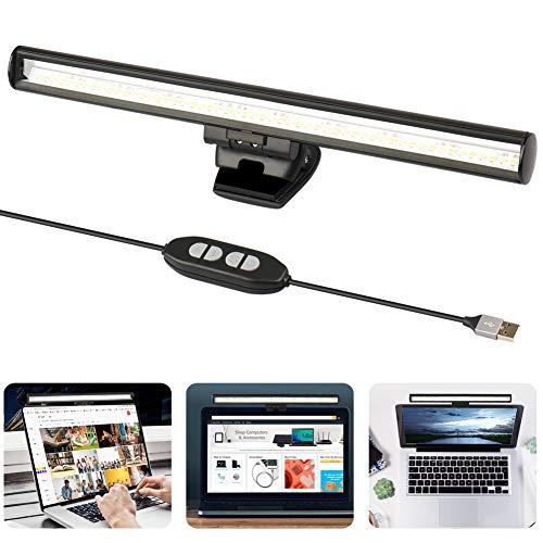 YOMERA Laptop Monitor Lampe, USB Lampe für Computer Monitor, LED Schreibtischlampe Bildschirmlampe für Home Office mit Dimmbarer Einstellbarer Helligkeit/3 Farbtemperatur/Platzsparend/Augenpflege