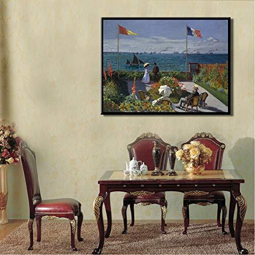 TBWPTS Canvas Schilderij Impressionistische schilder Monet Beroemd olieverfschilderij Tuin in Sainte-Adresse Posters Prints Canvas Muurdecoratie