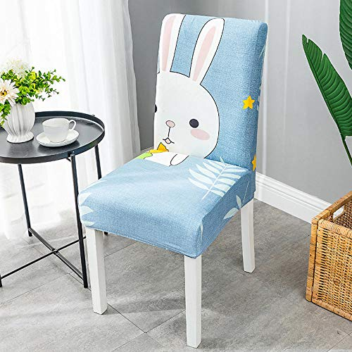 BHXXMGG Fundas para Sillas de Comedor Pack de 8 Cielo Azul Fundas Protectoras para Sillas Conejo Animal de Dibujos Animados Antideslizante Funda para Silla Desmontable, Muy fácil de Limpiar,