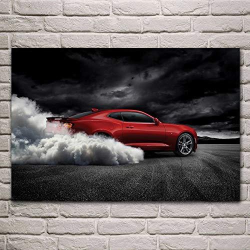 UHvEZ Brennende Reifen Sportwagen Stoff Kunst Poster Wohnzimmer Home Wanddekoration Leinwand Seide Kunstdruck Rahmenlos 40cmx60cm